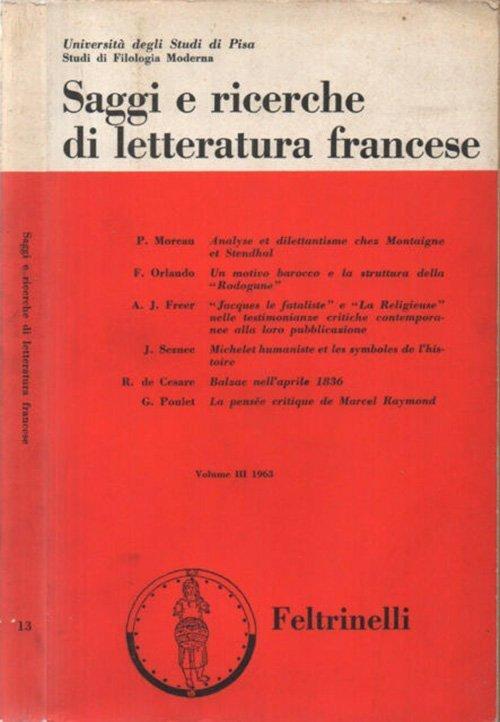 Saggi e ricerche di letteratura francese - Vol. III